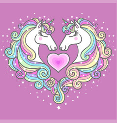Two beautiful white unicorns and a pink heart vector