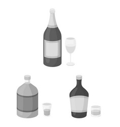 Types of alcohol monochrome icons in set vector