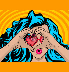 White woman wow face blue hair heart hands vector