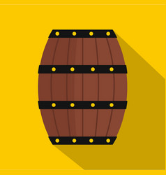 Wine wooden barrel icon flat style vector