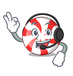 With headphone peppermint candy mascot cartoon vector