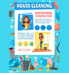 woman sweeping and mopping house cleaning service vector image