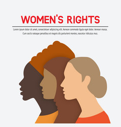 Women rights concept three of the female profile vector