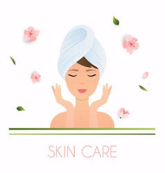 Young woman in towel with clean fresh skin touch vector