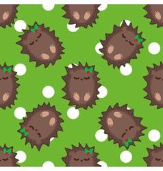 Cute cartoon hedgehog seamless pattern vector image