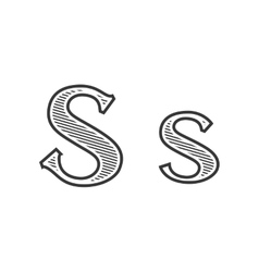 Font tattoo engraving letter S with shading vector image vector image