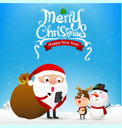 Merry christmas text and santa claus cartoon vector image