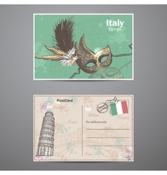 Set two sides of a postcard on the theme Italy vector image