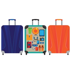 Suitcase for travel and vacation vector