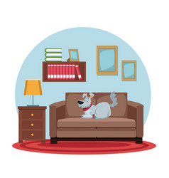 white background with circular colorful scene dog vector image vector image