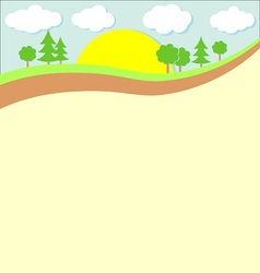 Background nature green trees and clouds vector