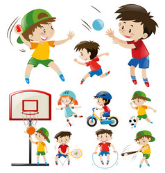 kids doing different types of sports vector image