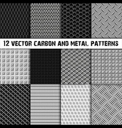 12 carbon and metal patterns vector image vector image