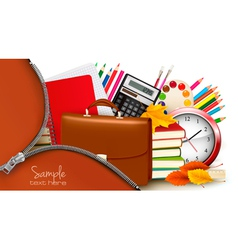 background with school supplies and open zipper vector image