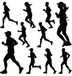 runner silhouette sport vector image