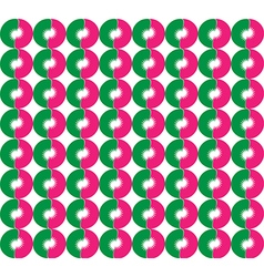 Abstract round flowers Pink and green semi vector image vector image