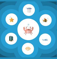 Flat icon sea set of alga seafood cancer and vector