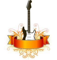 floral guitar banner vector image vector image