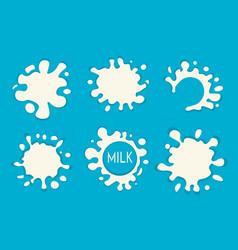 milk splash set of labels white milk splashes vector image