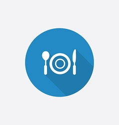 restaurant Flat Blue Simple Icon with long shadow vector image