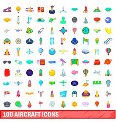 100 aircraft icons set cartoon style vector