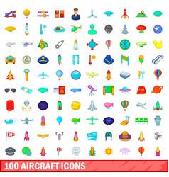 100 aircraft icons set cartoon style vector image
