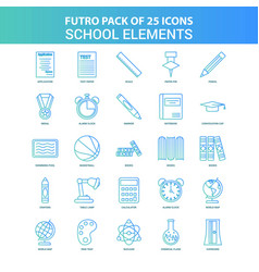 25 green and blue futuro school elements icon pack vector image