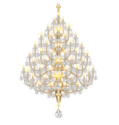 A luminous chandelier with crystal pendants on a vector