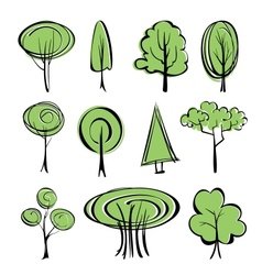 abstract trees sketch set vector image