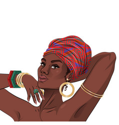 african american black beauty woman portrait vector image