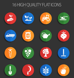 Agricaltural 16 flat icons vector