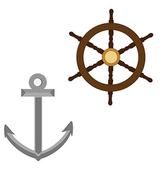 Anchor and wooden wheel vector image