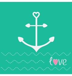 Anchor with shapes of heart and dash line waves lo vector