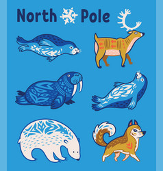 Arctic animals set in cartoon style vector