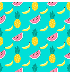 Background with watermelons bananas pineapples vector