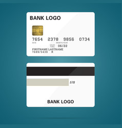 bank credit card business mockup teplate with text vector image
