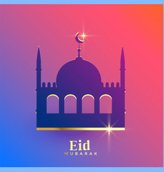 beautiful eid mubarak mosque design vector image