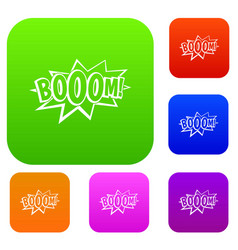 Boom explosion bubble set color collection vector