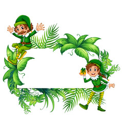 border template with elves in green costume vector image