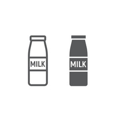 bottle of milk line and glyph icon drink and food vector image