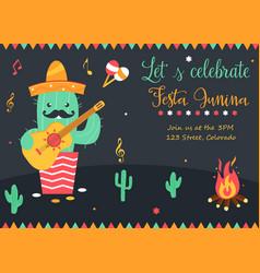 Bright poster for festa junina with happy cactus vector