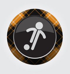 Button orange black tartan - football player icon vector