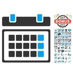 Calendar icon with 2017 year bonus symbols vector