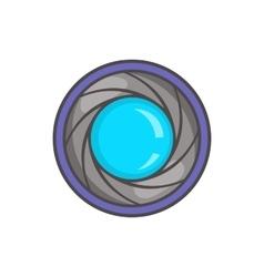 Camera aperture icon in cartoon style vector