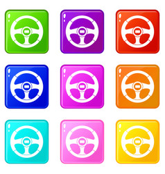 Car steering wheel set 9 vector
