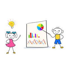 cartoon boy and girl presentation of innovative vector image