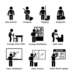 Classroom student duty roster stick figure vector