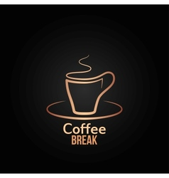 coffee cup label design background vector image vector image