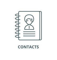 contacts line icon contacts outline sign vector image