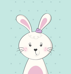 Cute rabbit or bunny poster for baby room vector
